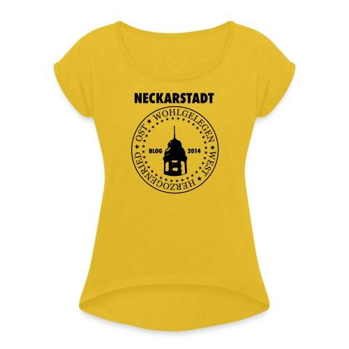 Neckarstadt Blog seit 2014 (Logo dunkel) - Frauen T-Shirt mit gerollten Ärmeln