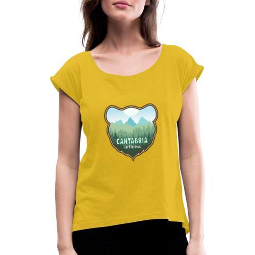 Oso en cantabria infinita - Camiseta con manga enrollada mujer