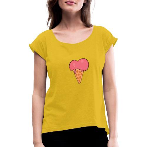 valentinstag - Frauen T-Shirt mit gerollten Ärmeln