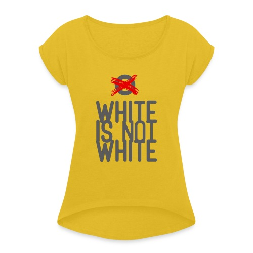 white not - Koszulka damska z lekko podwiniętymi rękawami