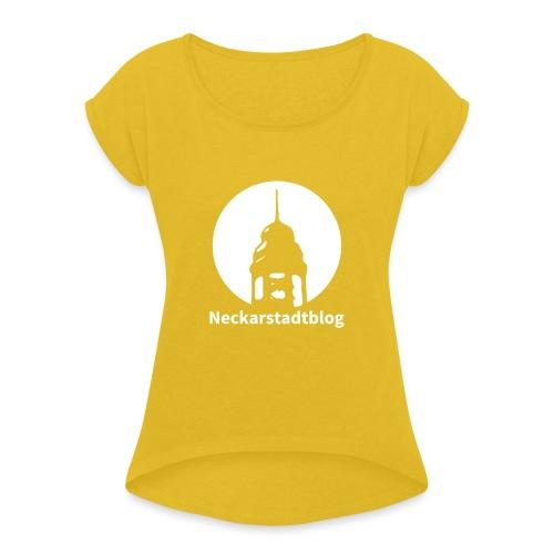Logo mit Schriftzug invertiert - Frauen T-Shirt mit gerollten Ärmeln
