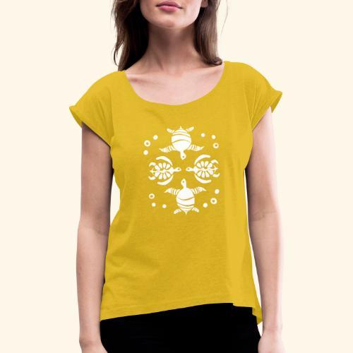 Unterwasserwelt mit Schildis - Frauen T-Shirt mit gerollten Ärmeln