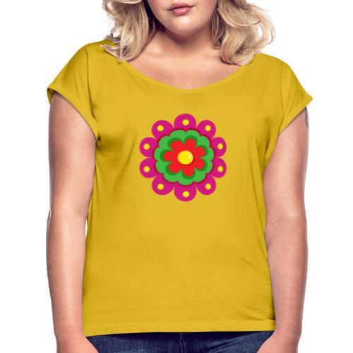 Fiesta Flower - Camiseta con manga enrollada mujer