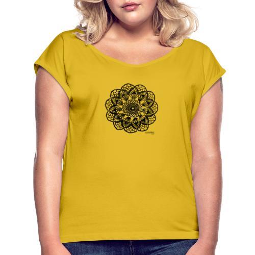 Grannys flower, musta - Naisten T-paita, jossa rullatut hihat