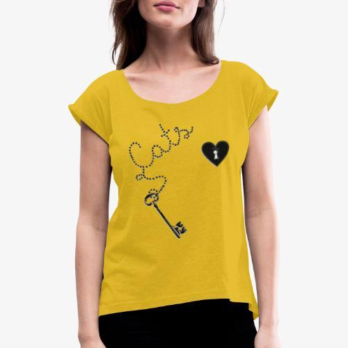 Key Cats Black - Naisten T-paita, jossa rullatut hihat