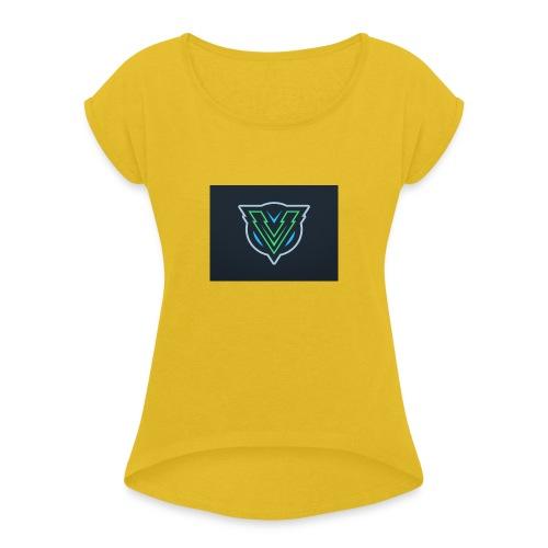 vertex gaming merch - Frauen T-Shirt mit gerollten Ärmeln