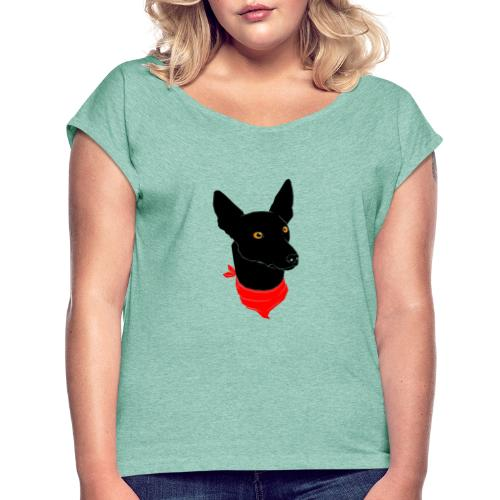 perro negro - Camiseta con manga enrollada mujer
