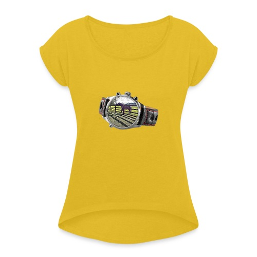 Horse in a watch - Women's T-Shirt with rolled up sleeves