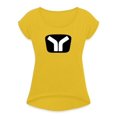 Yugo Logo Black-White Design - Women's T-Shirt with rolled up sleeves