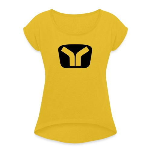 Yugo Logo Black-Transparent Design - Women's T-Shirt with rolled up sleeves