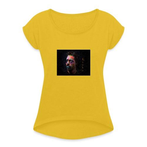 Kuuku - Naisten T-paita, jossa rullatut hihat
