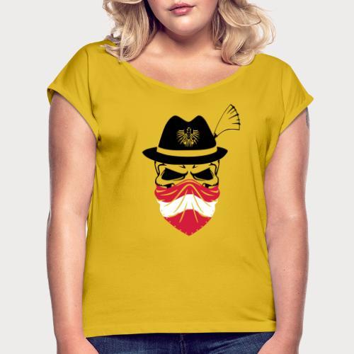 Austria Skull - Frauen T-Shirt mit gerollten Ärmeln