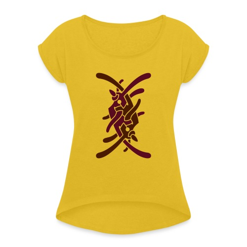 Stort logo på ryg - Dame T-shirt med rulleærmer