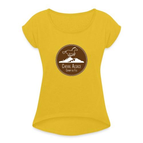 cheval alsace brun - T-shirt à manches retroussées Femme