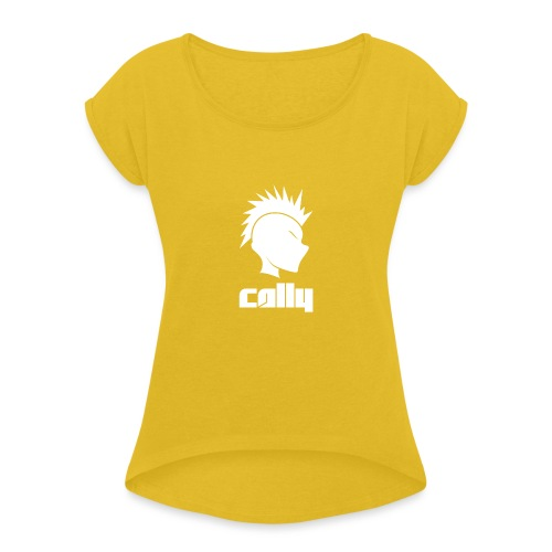 Cally Mohawk & Text Logo - Women's T-Shirt with rolled up sleeves