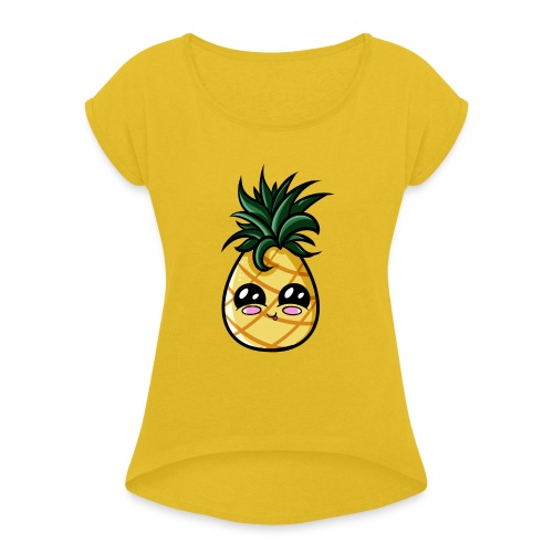 Ananas Kawaii - T-shirt à manches retroussées Femme