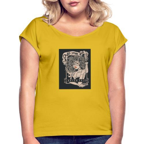 Lavish Salon - Frauen T-Shirt mit gerollten Ärmeln