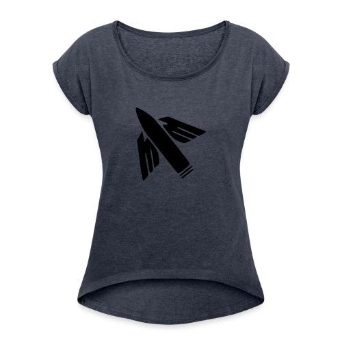 Ilmatorjuntamies - Naisten T-paita, jossa rullatut hihat