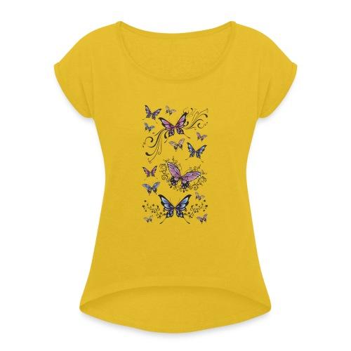 Tattoo de mariposas lilas y rosas - Camiseta con manga enrollada mujer