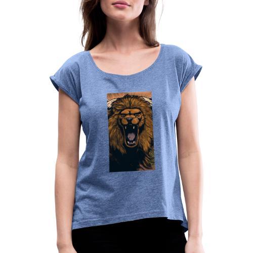 Lion grin - Frauen T-Shirt mit gerollten Ärmeln