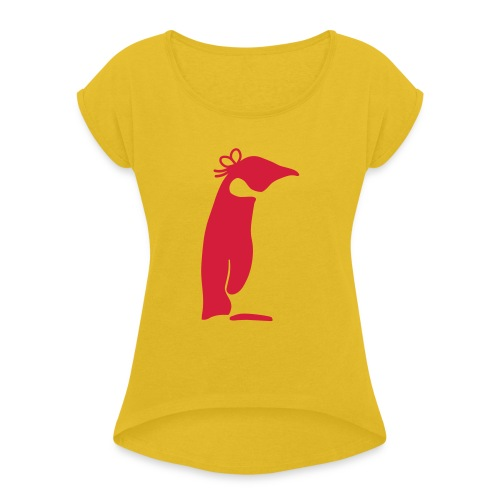 Pinguin solo - Frauen T-Shirt mit gerollten Ärmeln