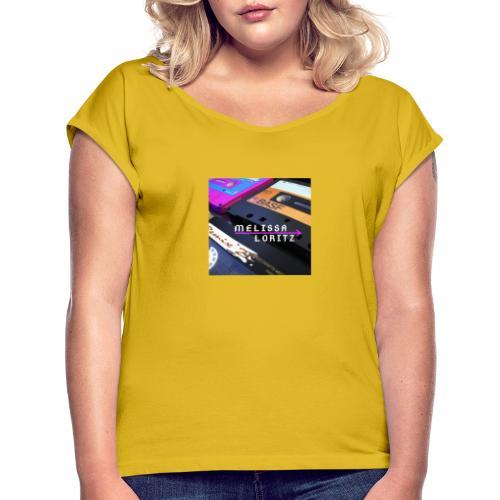 retro style kasette - Frauen T-Shirt mit gerollten Ärmeln
