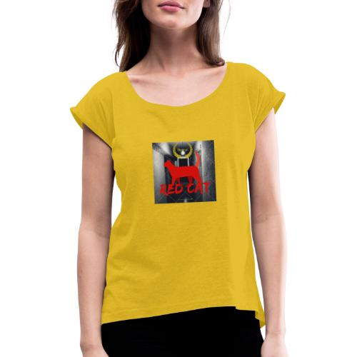 Red Cat (Deluxe) - Women's T-Shirt with rolled up sleeves
