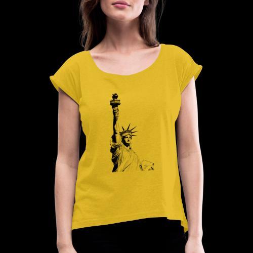 Freedom - Frauen T-Shirt mit gerollten Ärmeln