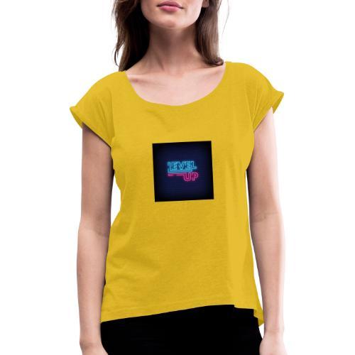 level up neon signboard 118419 1291 - Dame T-shirt med rulleærmer