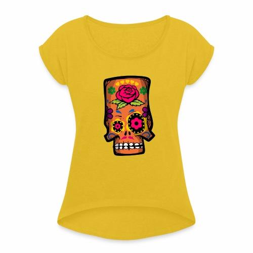 Calavera divertida - Camiseta con manga enrollada mujer