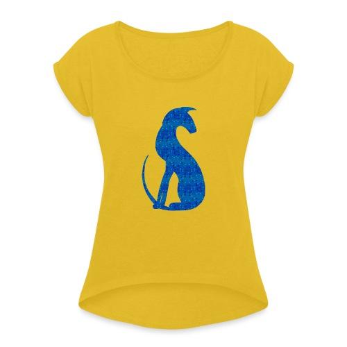 Siluett blå - T-shirt med upprullade ärmar dam
