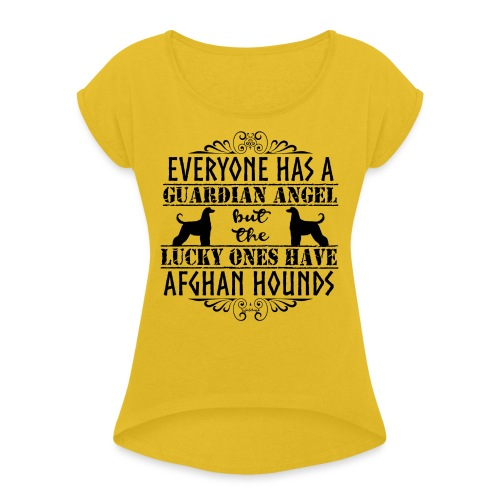 Afghan Hound Angels - Women's T-Shirt with rolled up sleeves