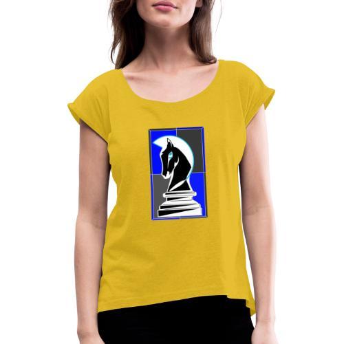cavallo Scacchi Vers 2 Colori Invertiti - Maglietta da donna con risvolti