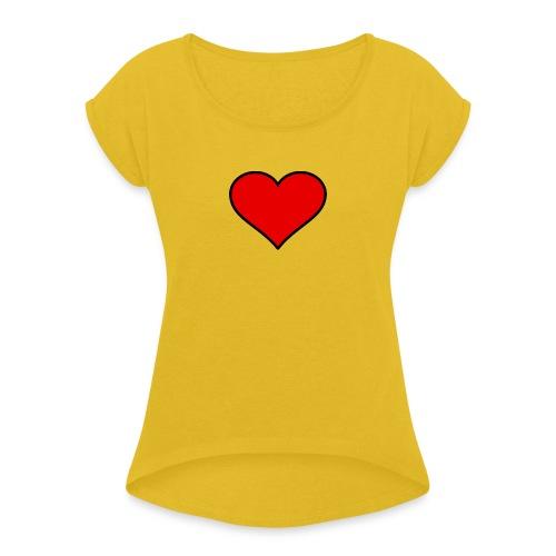 big heart clipart 3 - T-shirt med upprullade ärmar dam