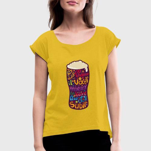 Bière pression typographies colorées - T-shirt à manches retroussées Femme