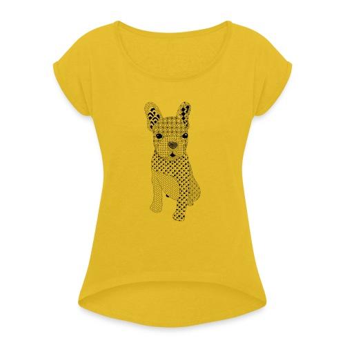 Bulldog puppy patroon - Vrouwen T-shirt met opgerolde mouwen