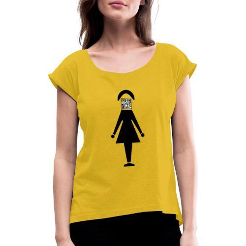 Barcode Woman - Frauen T-Shirt mit gerollten Ärmeln