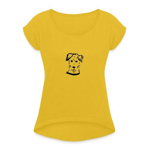 piesek a jpg - Koszulka damska z lekko podwiniętymi rękawami