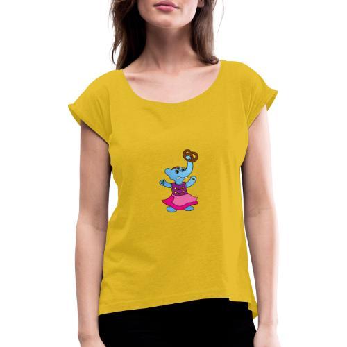 Elefant im Dirndl - Frauen T-Shirt mit gerollten Ärmeln