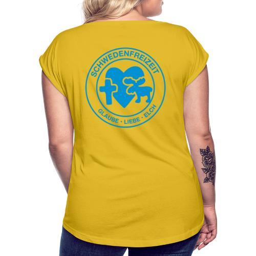 Schwedenfreizeit Logo - Frauen T-Shirt mit gerollten Ärmeln