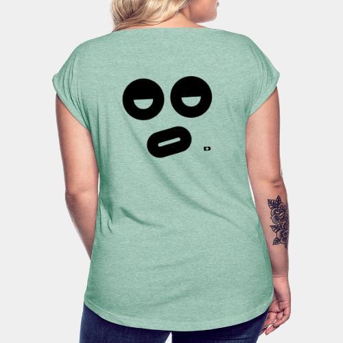 A-087 Smiley dicke Lippe - Frauen T-Shirt mit gerollten Ärmeln