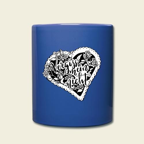 Vergissmeinnicht-Herz mit weißem Hintergrund - Tasse einfarbig