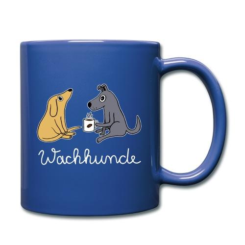 Wachhund trinkt Kaffee Koffein weckt müde Hunde - Tasse einfarbig