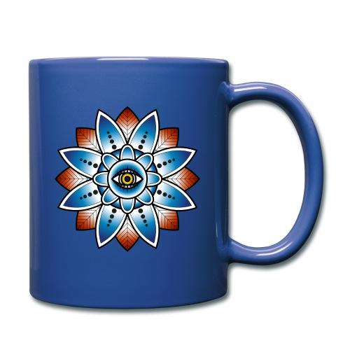 Psychedelisches Mandala mit Auge - Tasse einfarbig