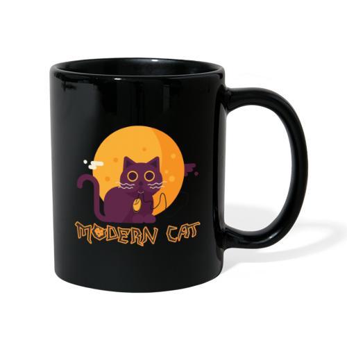 gatto moderno animale topo luna arte animale domestico - Tazza monocolore