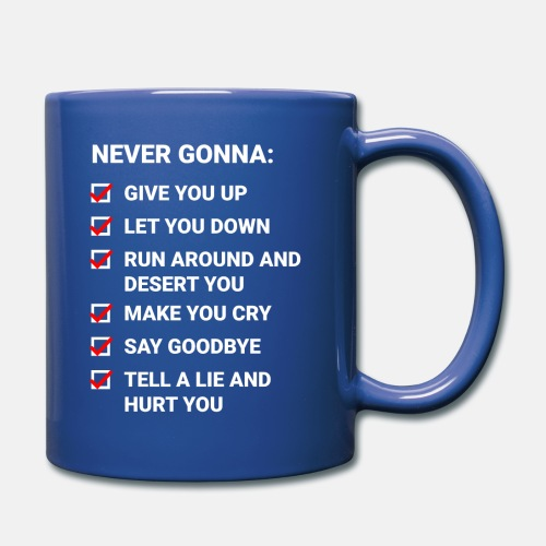 Rick Roll Checkliste (Never Gonna Give You Up) - Full Colour Mug