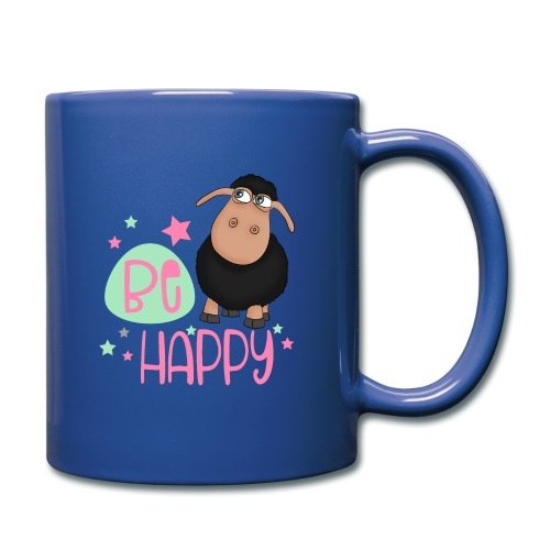 Schwarzes Schaf - be happy Schaf Glückliches Schaf - Tasse einfarbig