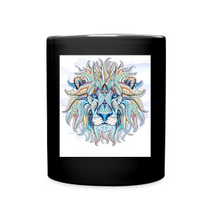 stock vector patterned head of the lion on the gru - Taza de un color