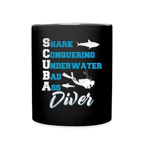 Shark Conquering Underwater Scuba Diver - Tasse einfarbig