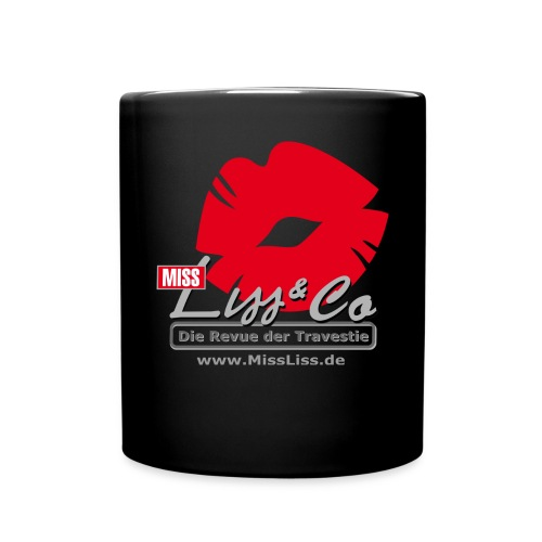 Miss Liss Logo grosser Kussmund mit Internetseite - Tasse einfarbig